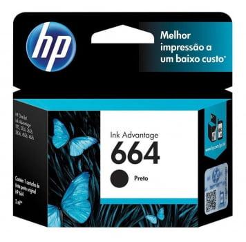 Cartucho de Tinta HP 664 - Preto - Original - F6V29AB