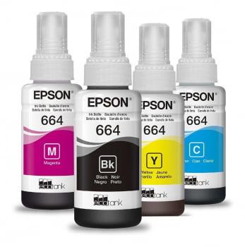 Kit Refil de Tinta Original Epson 664 - Preto / Ciano / Magenta / Amarelo - T664120 / T664220 / T664320 / T664420